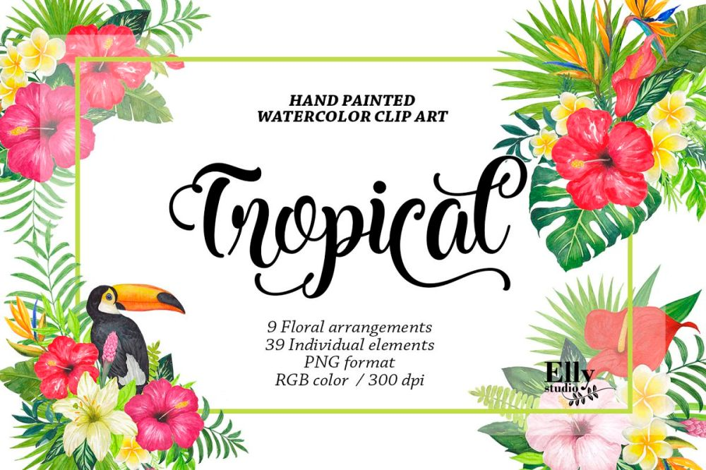 medium resolution of watercolor tropical floral clip art example image 1
