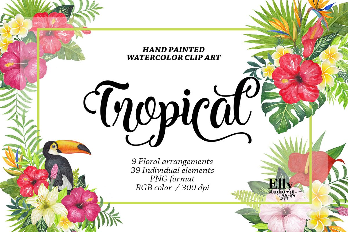 hight resolution of watercolor tropical floral clip art example image 1