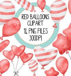 red watercolor balloon clipart set example image 1 [ 1200 x 800 Pixel ]