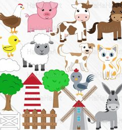 farm animals clip art cutting files 73c example image 1 [ 1200 x 800 Pixel ]