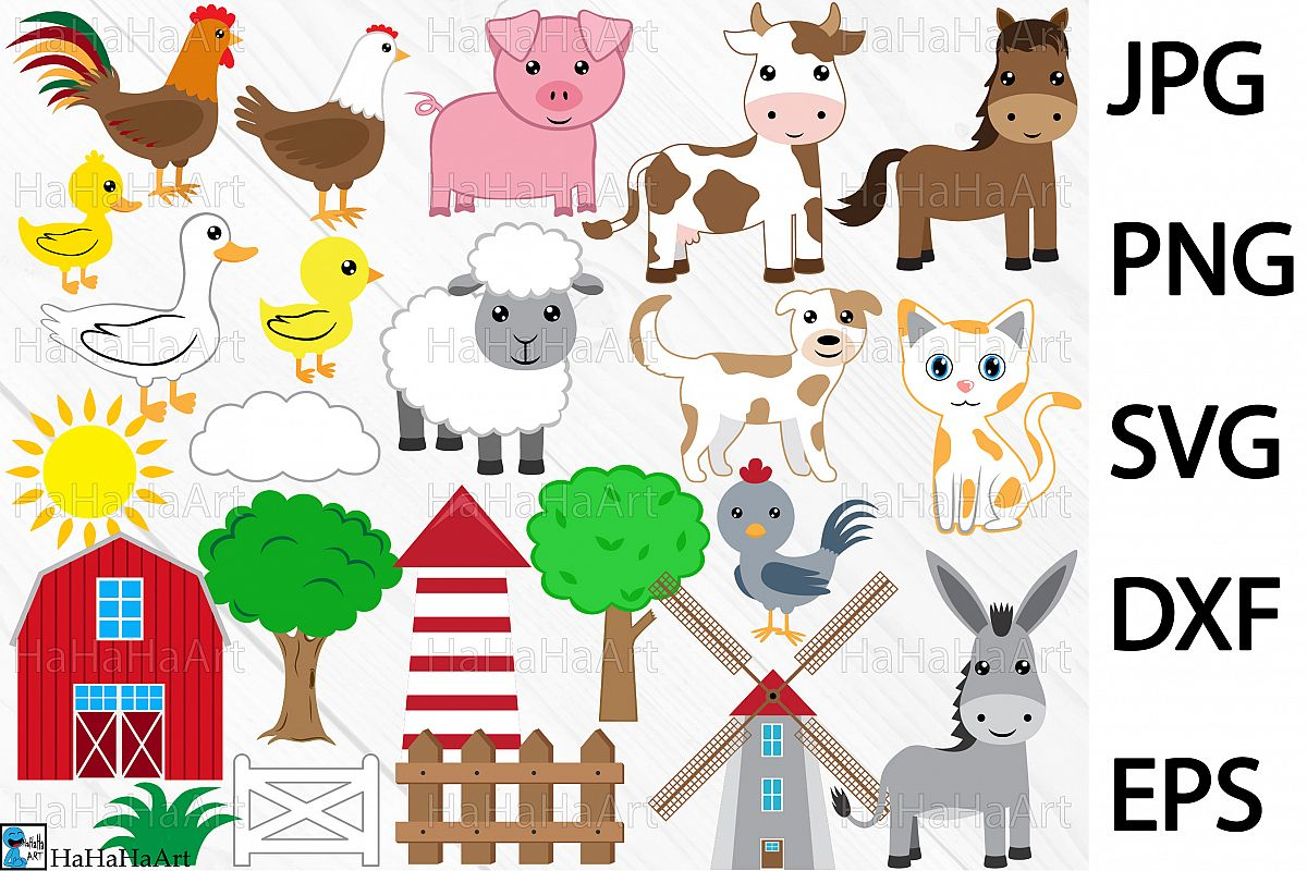 hight resolution of farm animals clip art cutting files 73c example image 1