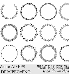 wreaths clipart hand drawn black design elements digital wreath laurels leaves and [ 1200 x 800 Pixel ]