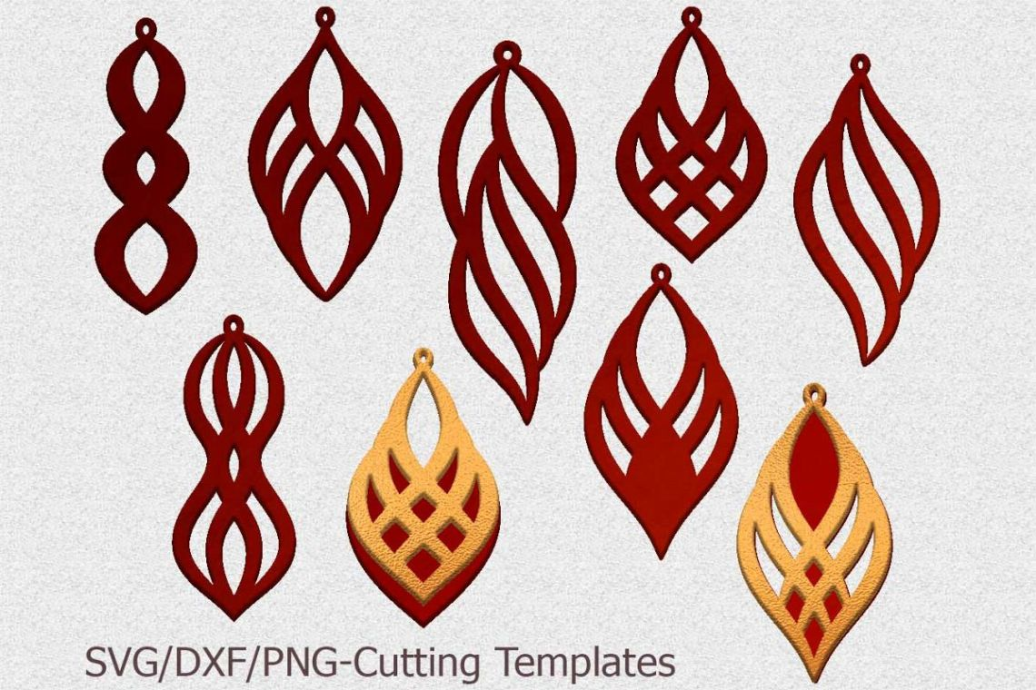 Download leather earring template svg, oriental jewelry svg laser cut