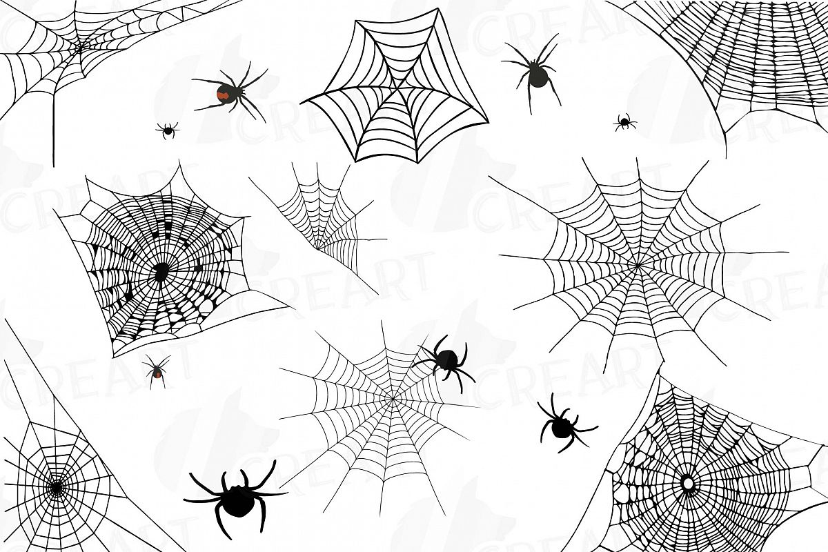 Spiders and Spider webs silhouettes clip art pack, Halloween