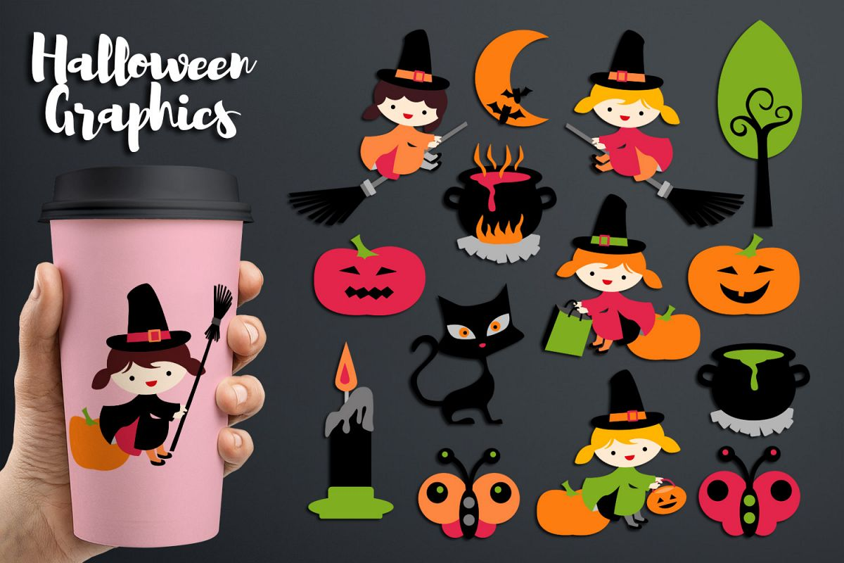 hight resolution of halloween witch clipart soup pot cat moon pumpkin example image 1