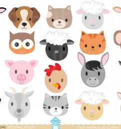 farm animal faces clipart example image 1 [ 1200 x 800 Pixel ]