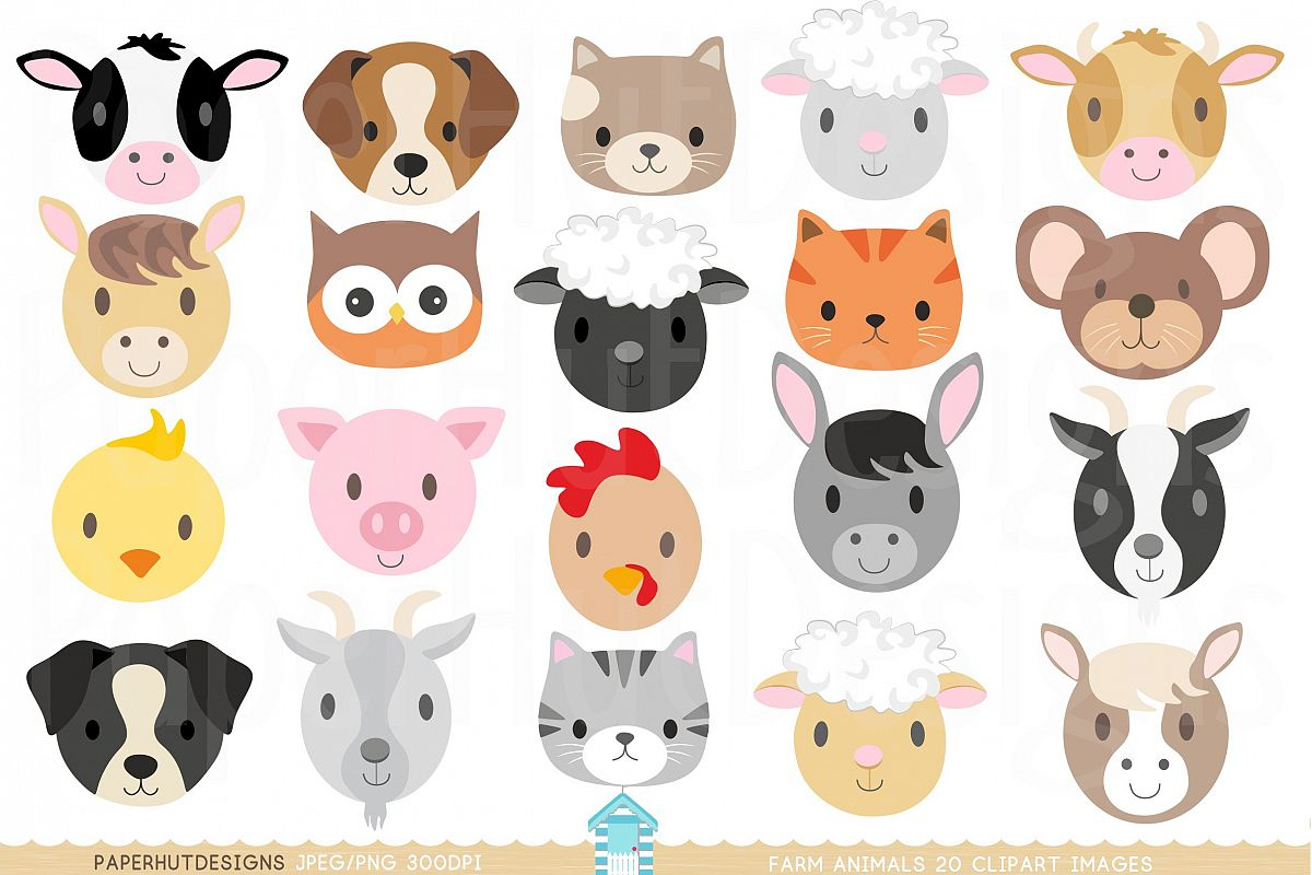 hight resolution of farm animal faces clipart example image 1