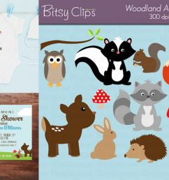 woodland animals digital art set clipart commercial use example image 1 [ 1200 x 800 Pixel ]