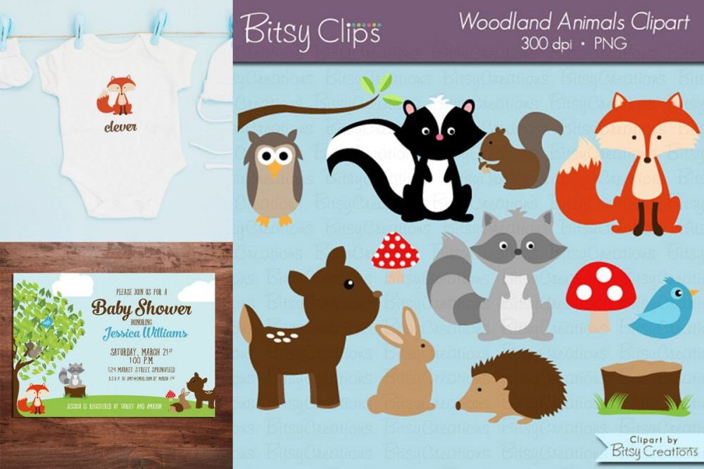 medium resolution of woodland animals digital art set clipart commercial use example image 1
