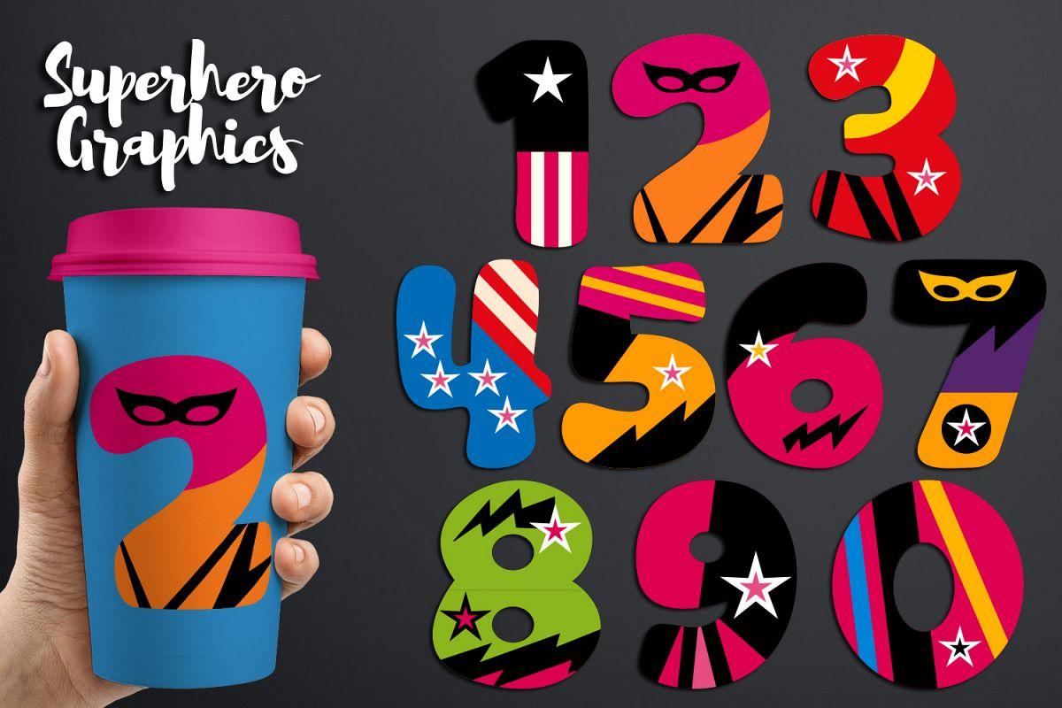 Numbers Graphics Girly Superhero 0 1 2 3 4 5 6 7 8 9
