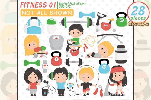small resolution of cute fitness clipart gym clip art set workout design yoga example image 1