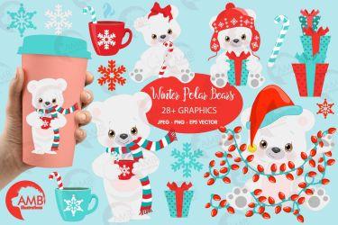 bear polar clipart christmas winter amb illustrations 2274 graphics deals journaling holly cards designer follow
