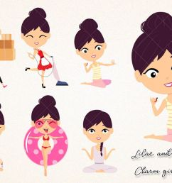 kawaii girl collection clipart brunette and lilac hair household chores paint nails png clip [ 1200 x 800 Pixel ]