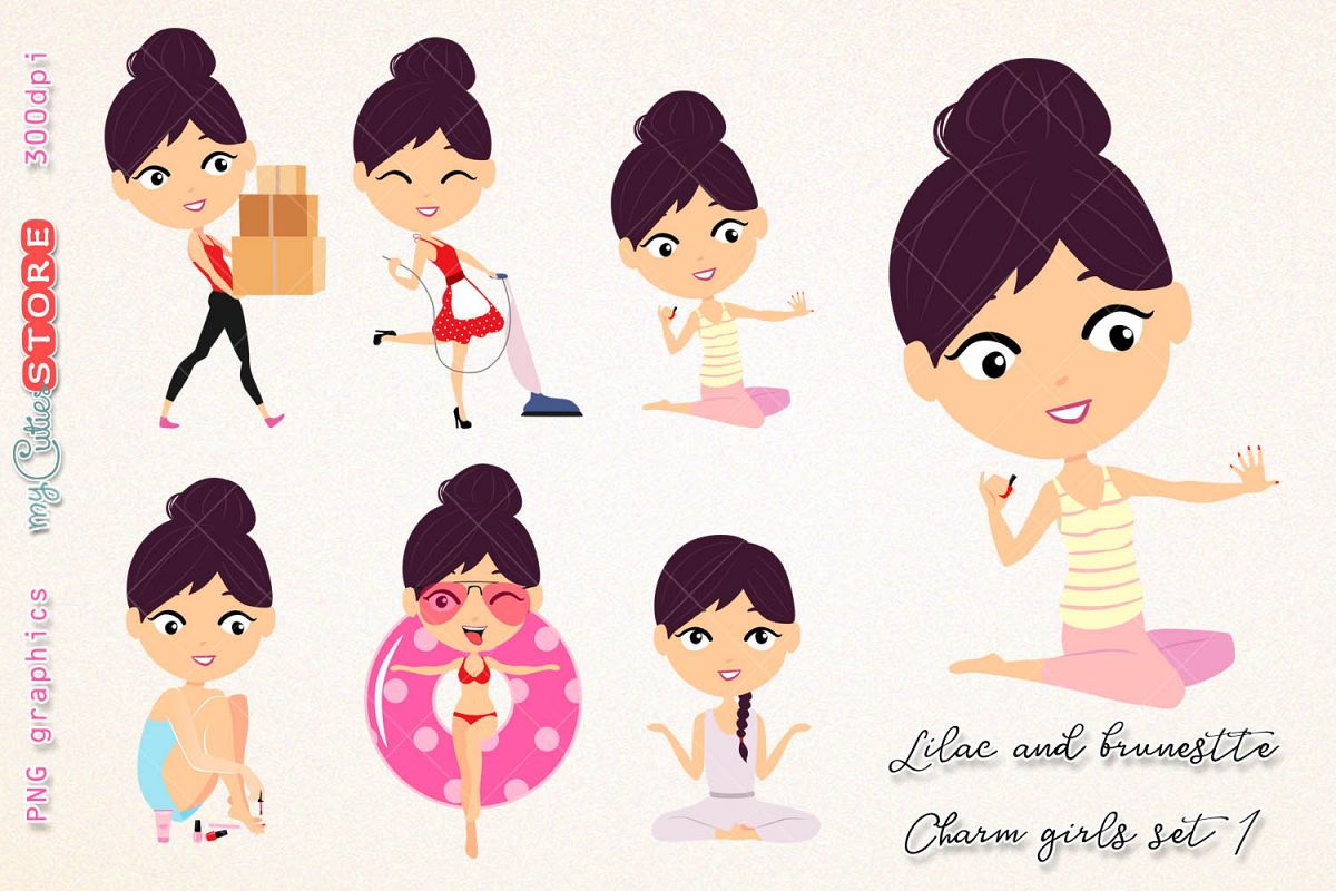 hight resolution of kawaii girl collection clipart brunette and lilac hair household chores paint nails png clip