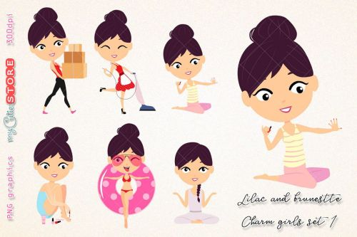 small resolution of kawaii girl collection clipart brunette and lilac hair household chores paint nails png clip