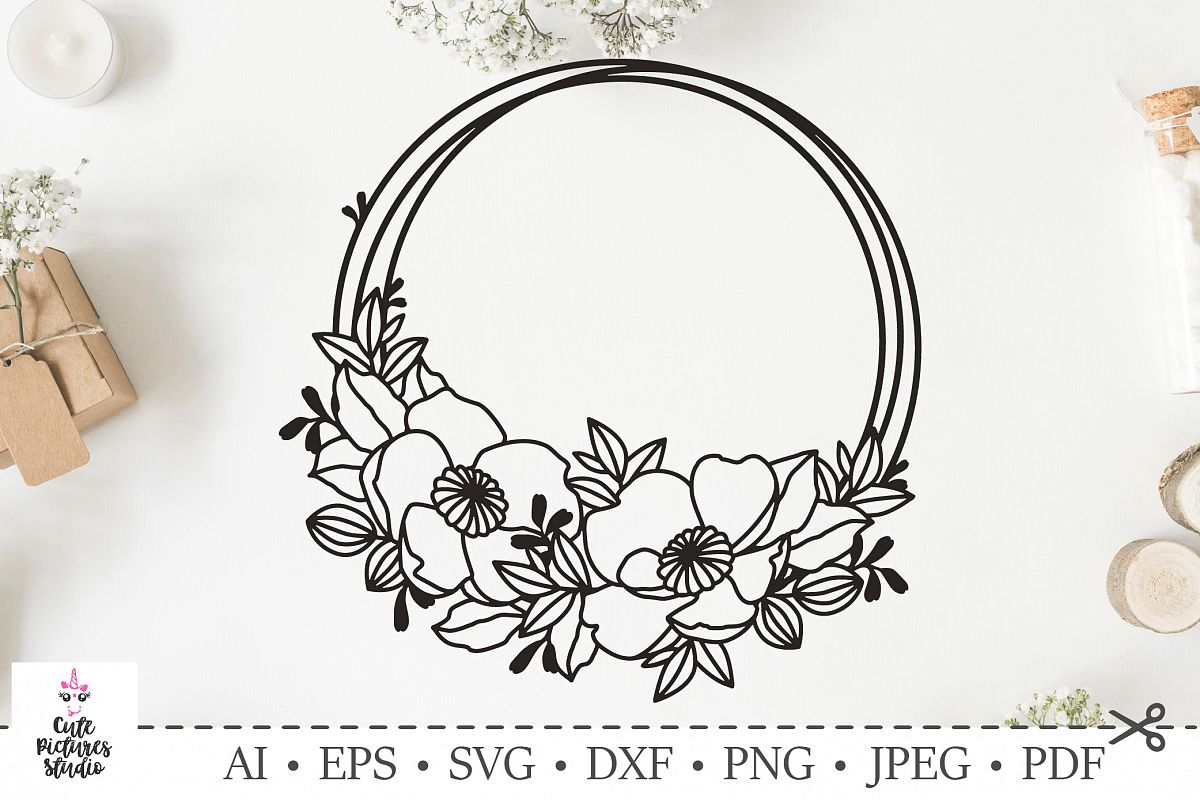 circle flowers frame for