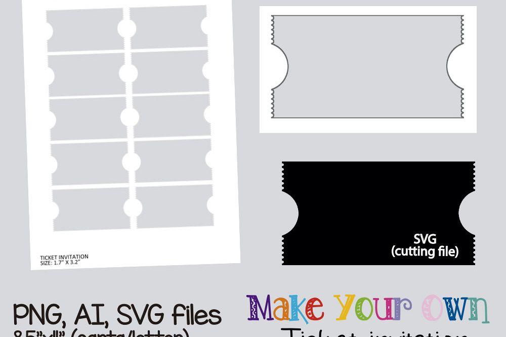 Ticket invitation template, collage she   Design Bundles