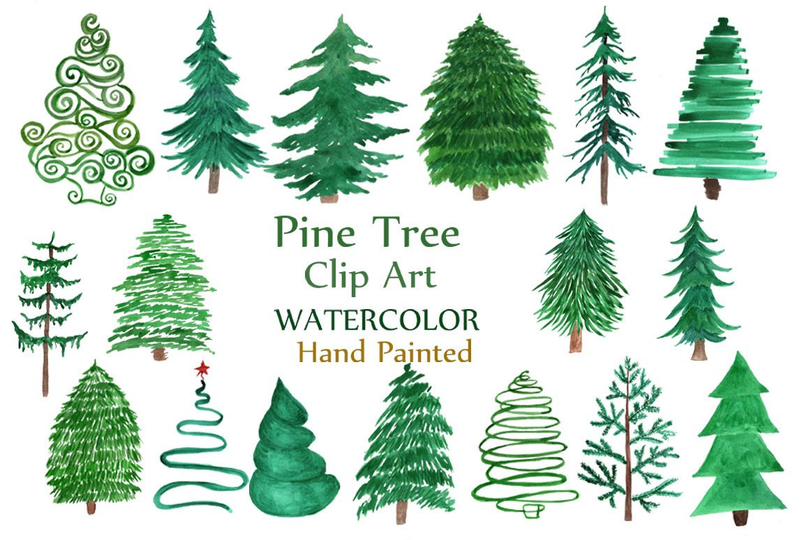 hight resolution of watercolor pine trees clipart example image 1