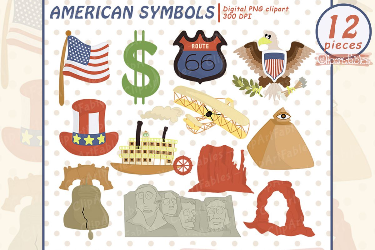 Usa National Symbols Clipart Travel Clip Art Set Usa Flag