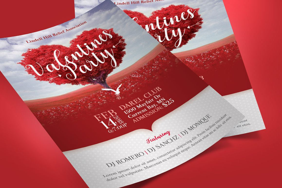 Tree Heart Valentines Party Flyer Template Example Image