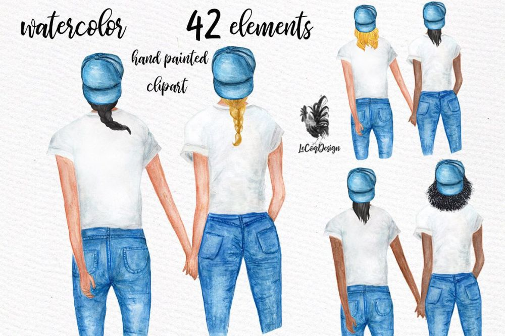 medium resolution of watercolor planner girls clipart besties clipart bff example image 1