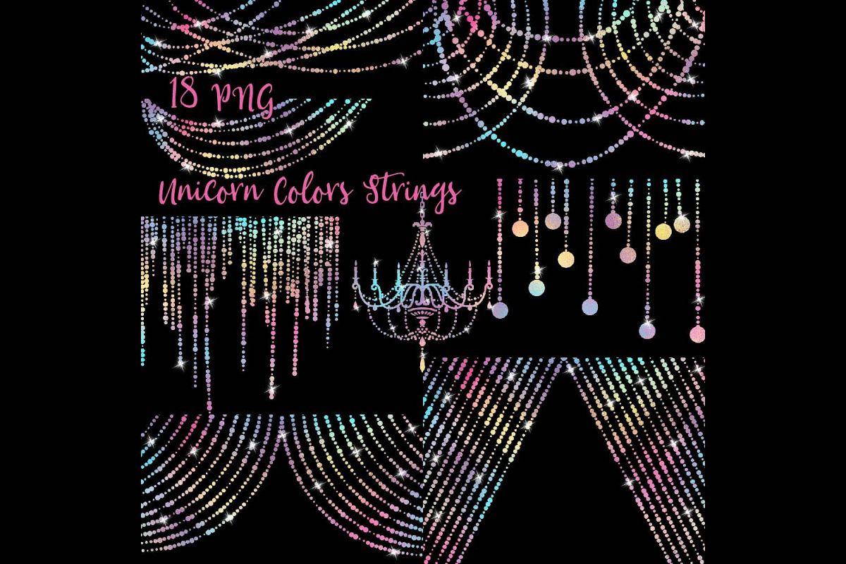 unicorn colors string lights