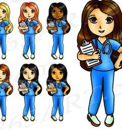 kawaii nurse clipart nurse girls digital graphics png jpeg commercial example image 1 [ 1200 x 800 Pixel ]