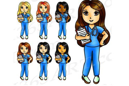 small resolution of kawaii nurse clipart nurse girls digital graphics png jpeg commercial example image 1