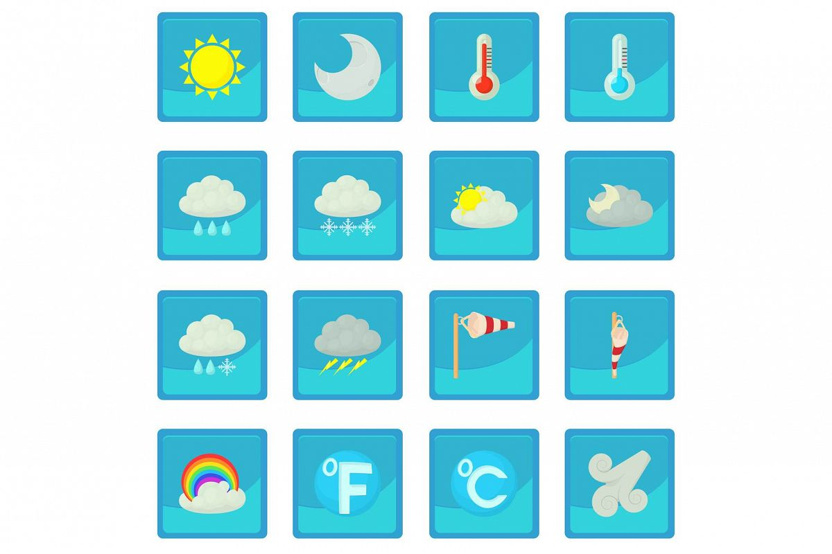 Weather Symbols Icon Blue App