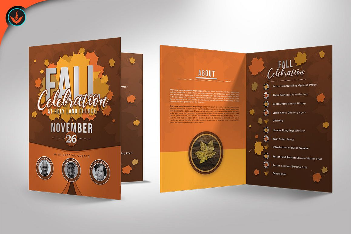 Fall Celebration Church Program Templat | Design Bundles