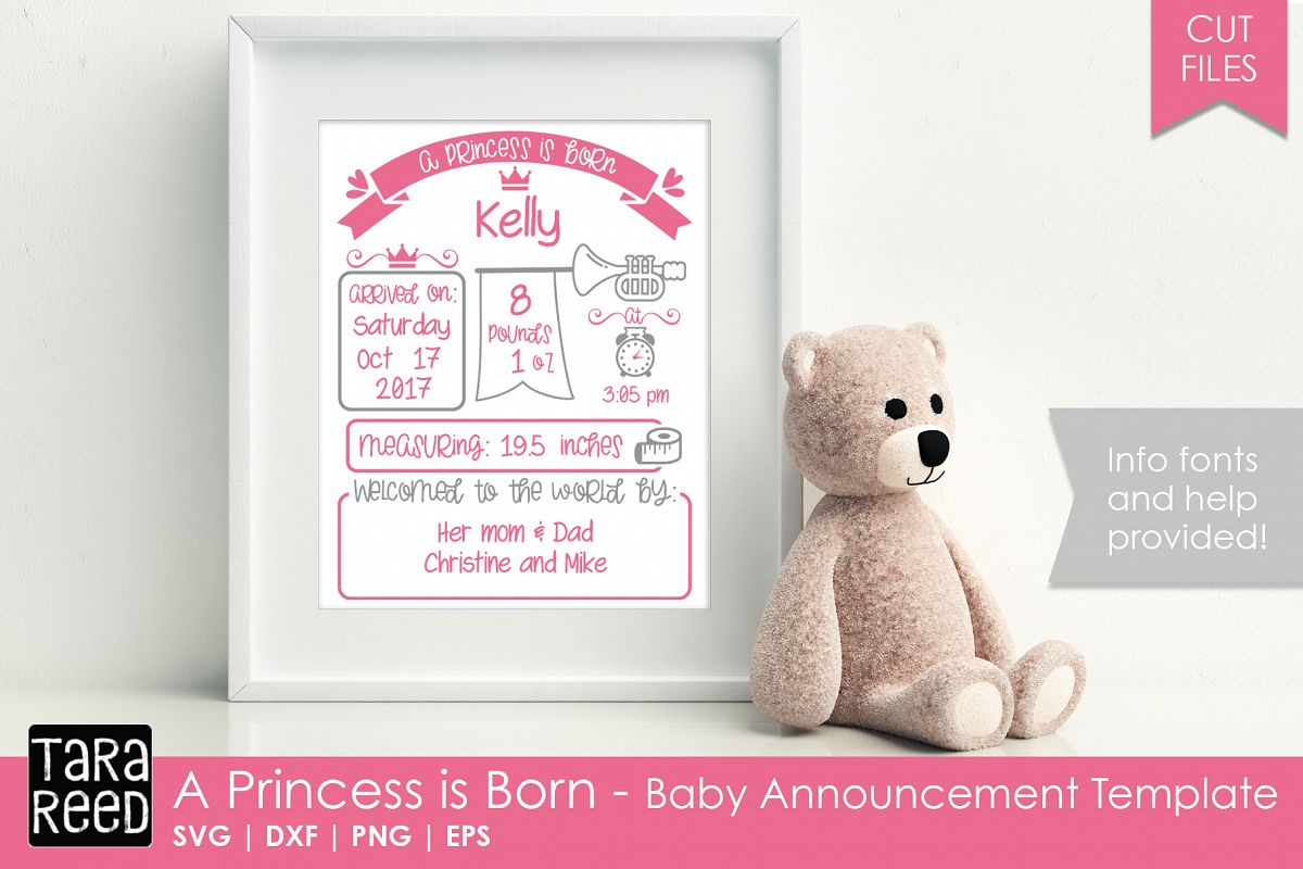 New Princess Baby Announcement Template Example Image