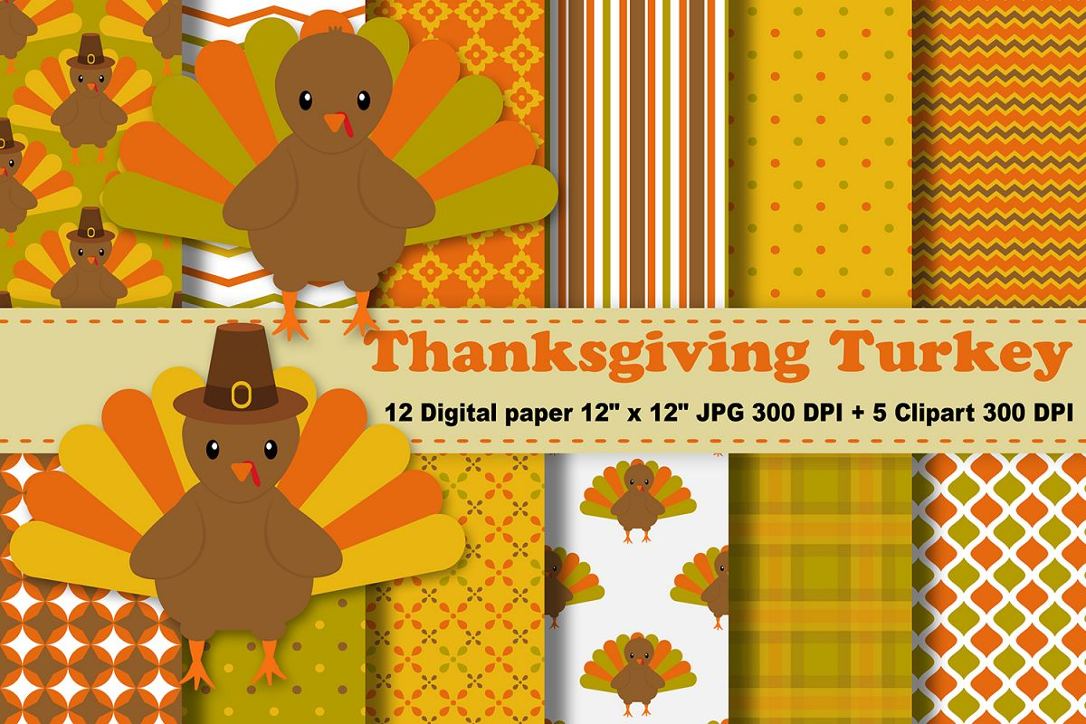 Thanksgiving Digital Paper Thanksgiving Turkey Background Fall Pattern Autumn Printables