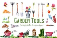 Garden Tools Watercolor Hand Painted Clipart, Spring Garden