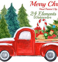 watercolor christmas truck clipart example image 1 [ 1162 x 774 Pixel ]