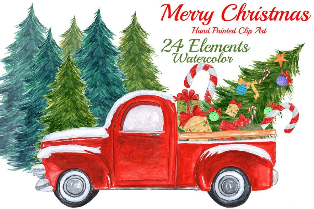 medium resolution of watercolor christmas truck clipart example image 1