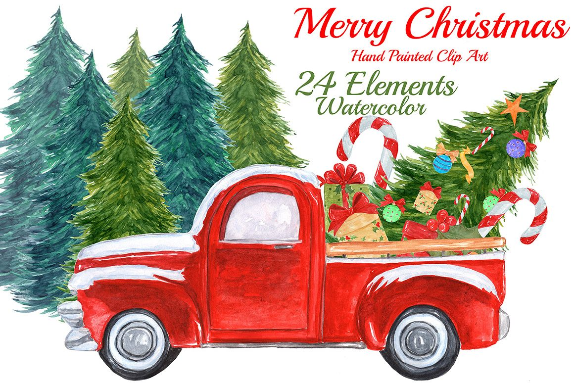 hight resolution of watercolor christmas truck clipart example image 1
