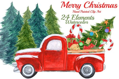 small resolution of watercolor christmas truck clipart example image 1