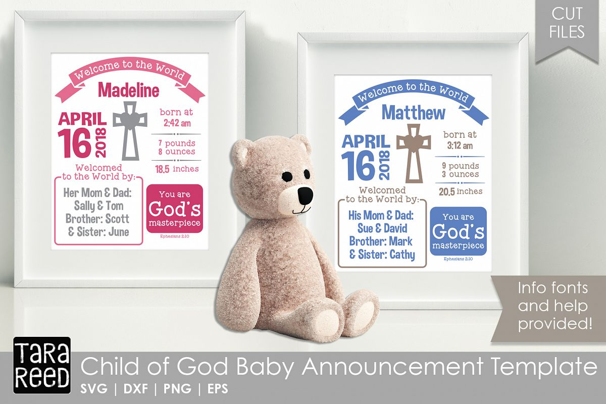 Child Of God Baby Announcement Template Example Image