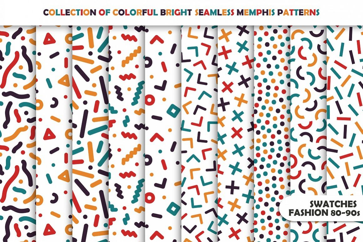 colorful memphis seamless patterns