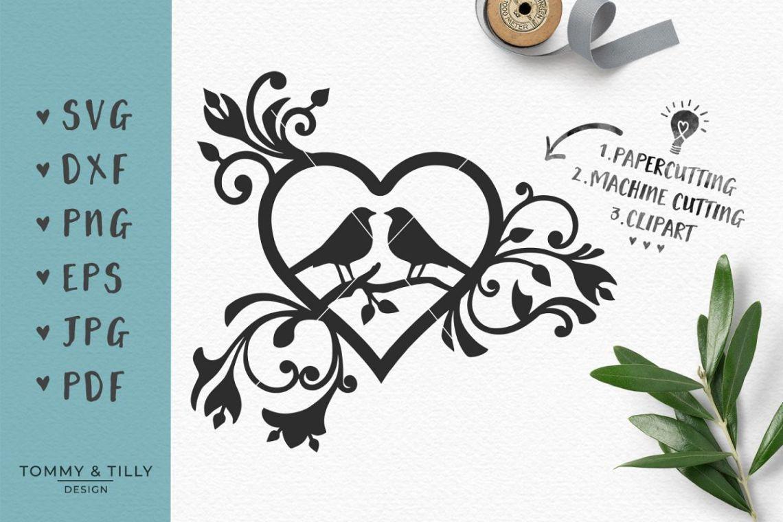 Download Love Birds Heart - SVG EPS DXF PNG PDF JPG Cutting File