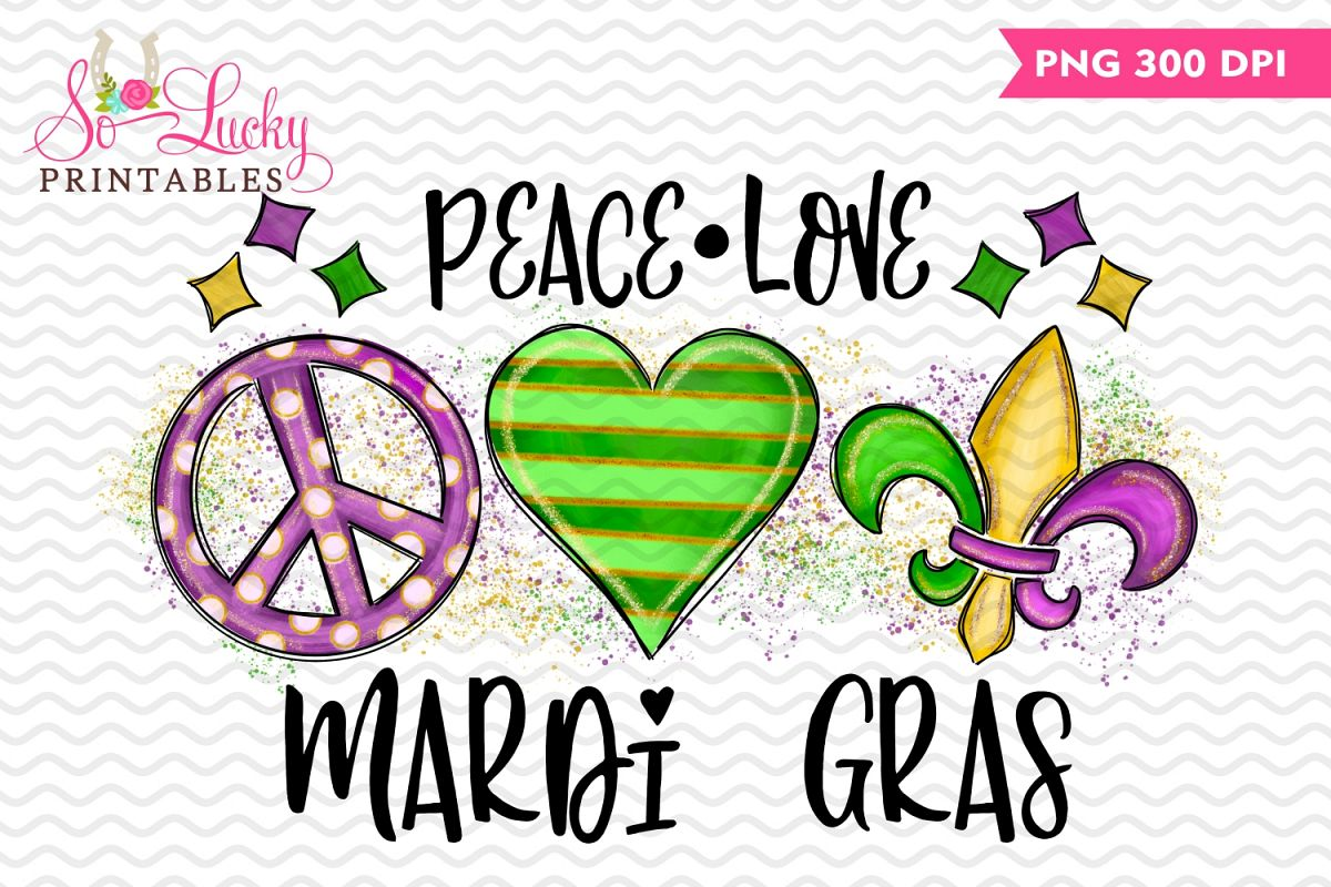 Mardi Gras Painted Printable Sublimation Design