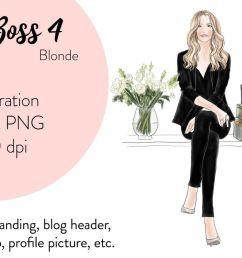 fashion illustration clipart girl boss 4 blonde example image 1 [ 1200 x 800 Pixel ]