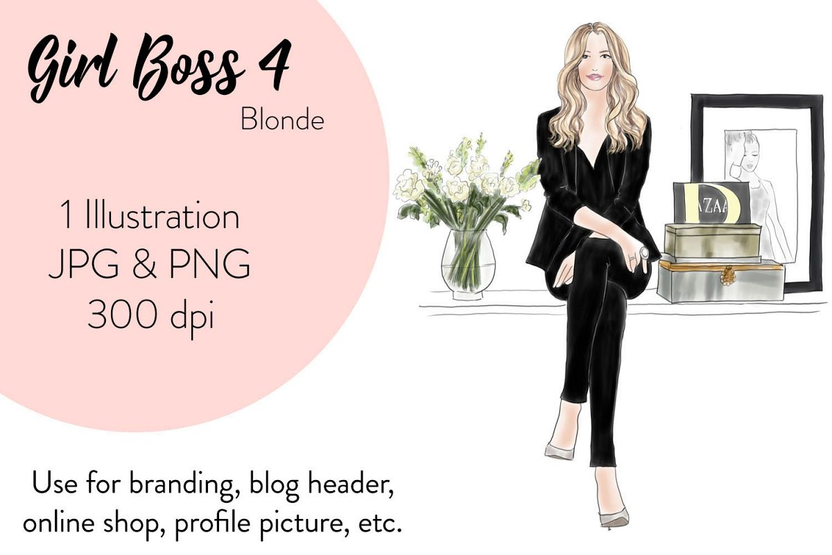 hight resolution of fashion illustration clipart girl boss 4 blonde example image 1