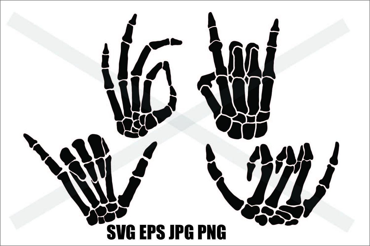 Skeleton Hand Silhouette- SVG-EPS-JPG-PNG (403108