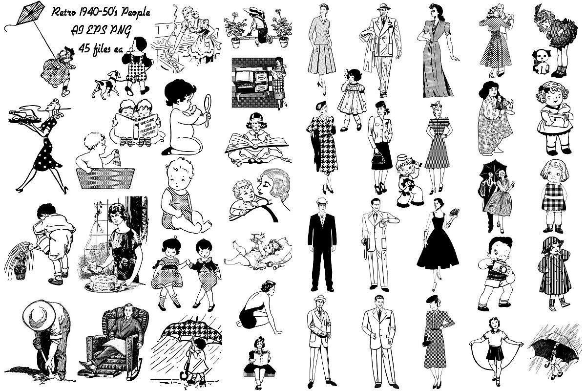 Mid Century Atomic Age People Amp Children Clip Art