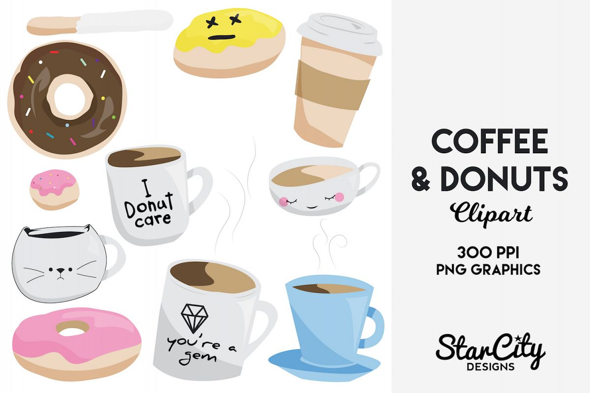 hight resolution of coffee donut clipart graphics for commercial use example image 1