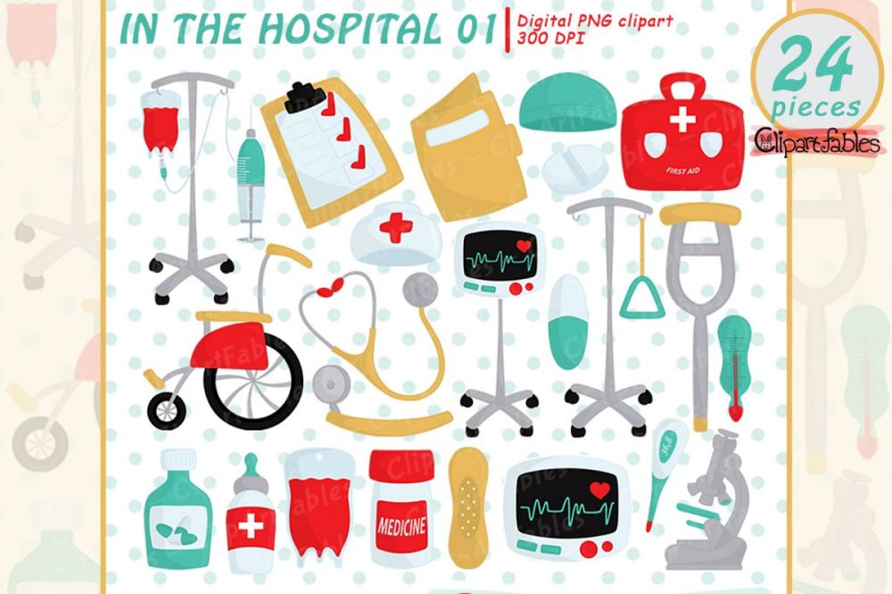 medium resolution of hospital clipart first aid clip art instant download example image 1