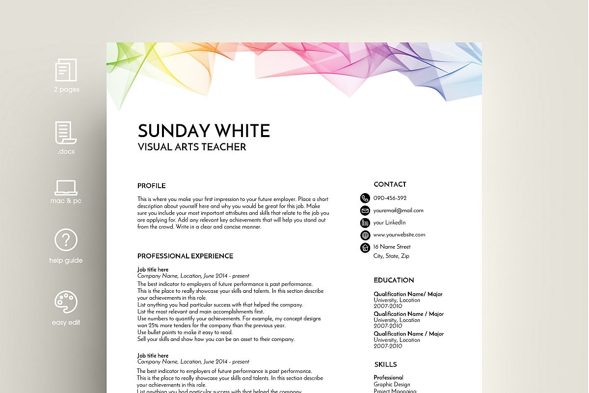 Template Of A Resume Resume Template Cv Template Cv Design Rainbow