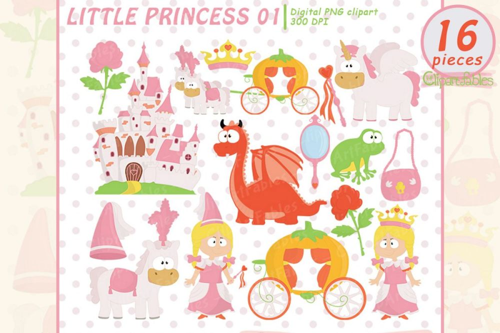 medium resolution of little princess clip art pink fairy tale clipart instant example image 1