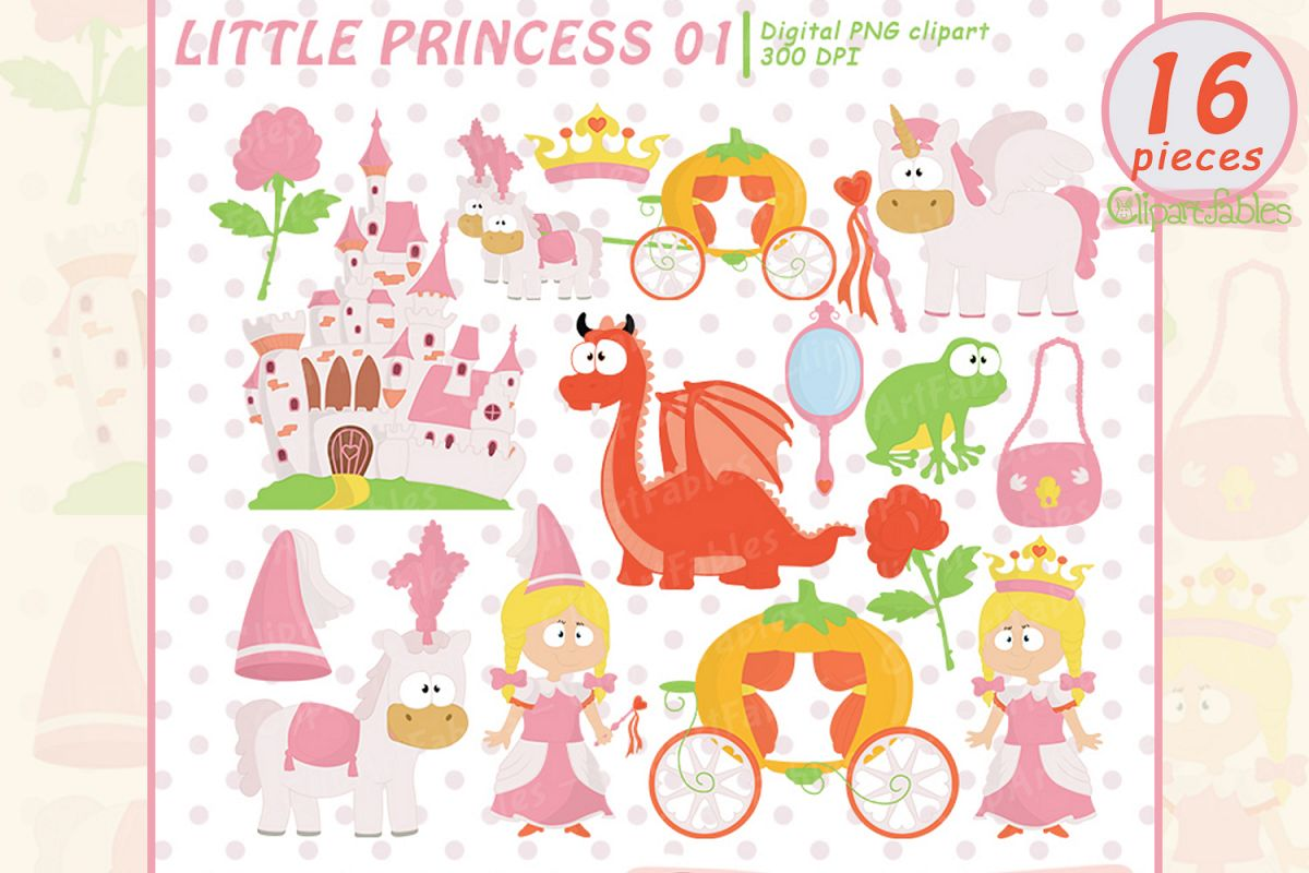 hight resolution of little princess clip art pink fairy tale clipart instant example image 1